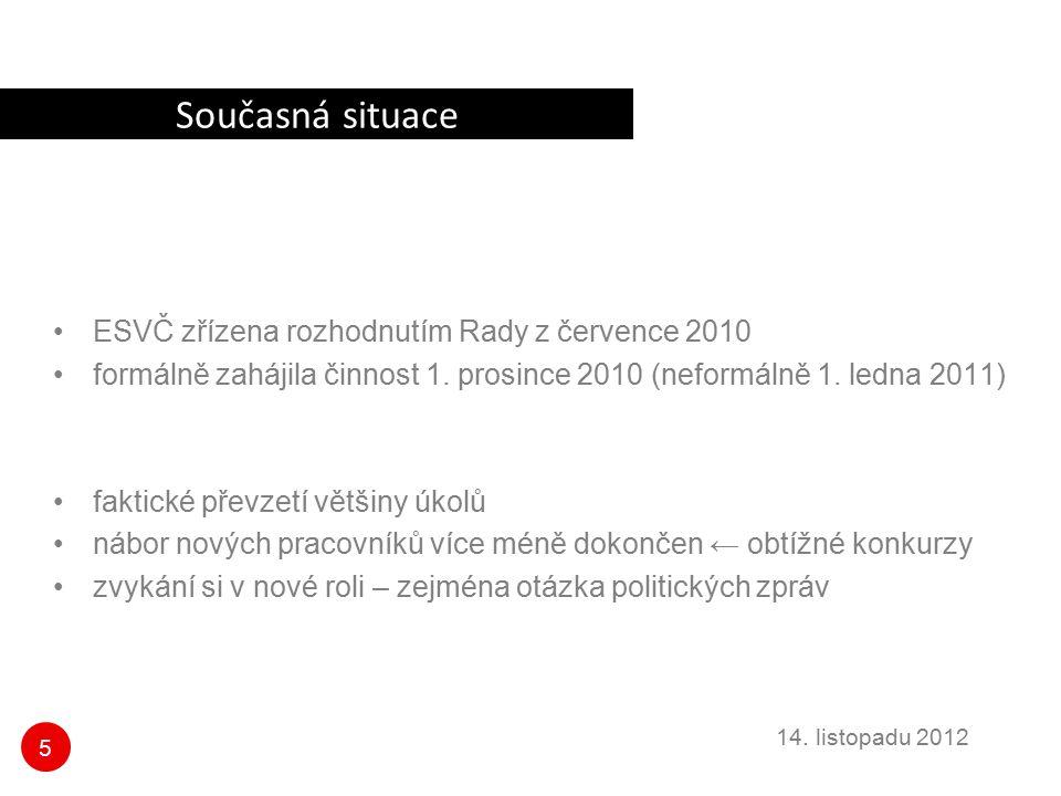 Současná situace ESVČ zřízena rozhodnutím Rady z července 2010
