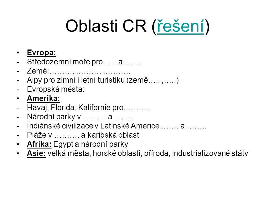 Oblasti CR (řešení) Evropa: Středozemní moře pro……a……..