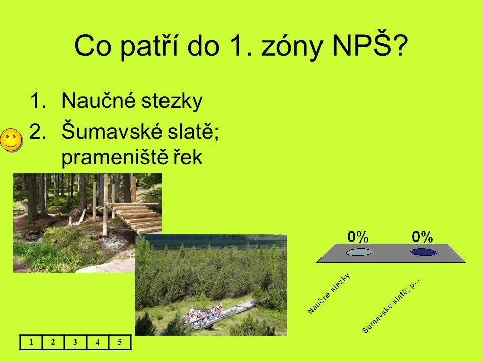 Co patří do 1. zóny NPŠ Naučné stezky Šumavské slatě; prameniště řek