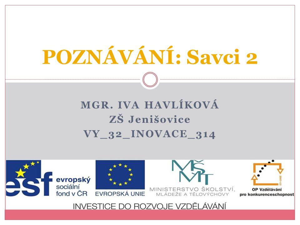 Mgr. Iva Havlíková ZŠ Jenišovice VY_32_INOVACE_314