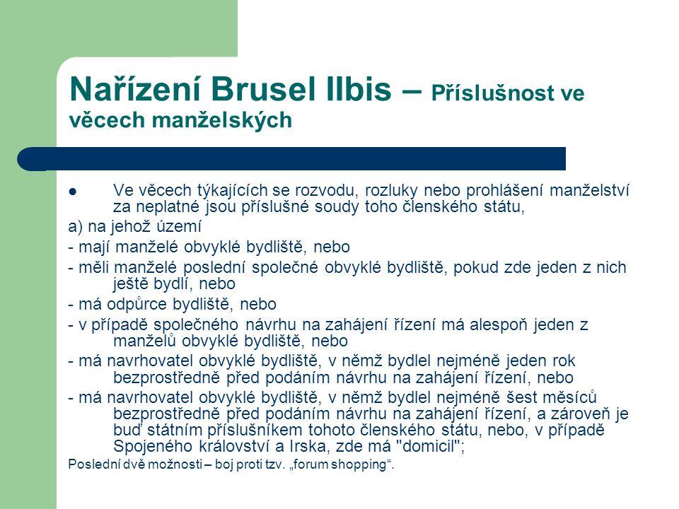 Nařízení Brusel IIbis – Příslušnost ve věcech manželských