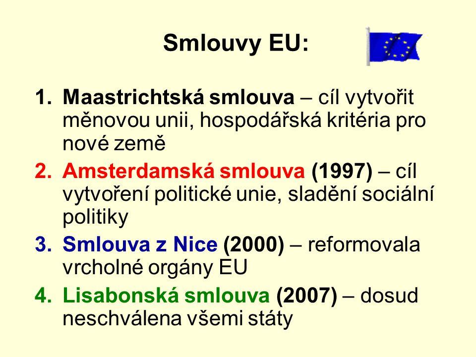 Smlouvy EU: Maastrichtská smlouva – cíl vytvořit měnovou unii, hospodářská kritéria pro nové země.