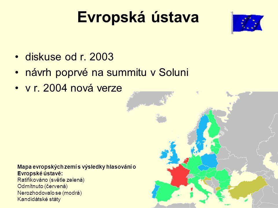 Evropská ústava diskuse od r. 2003 návrh poprvé na summitu v Soluni