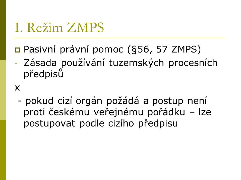 I. Režim ZMPS Pasivní právní pomoc (§56, 57 ZMPS)