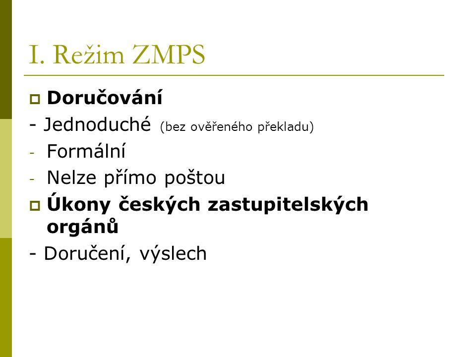 I. Režim ZMPS Doručování - Jednoduché (bez ověřeného překladu)