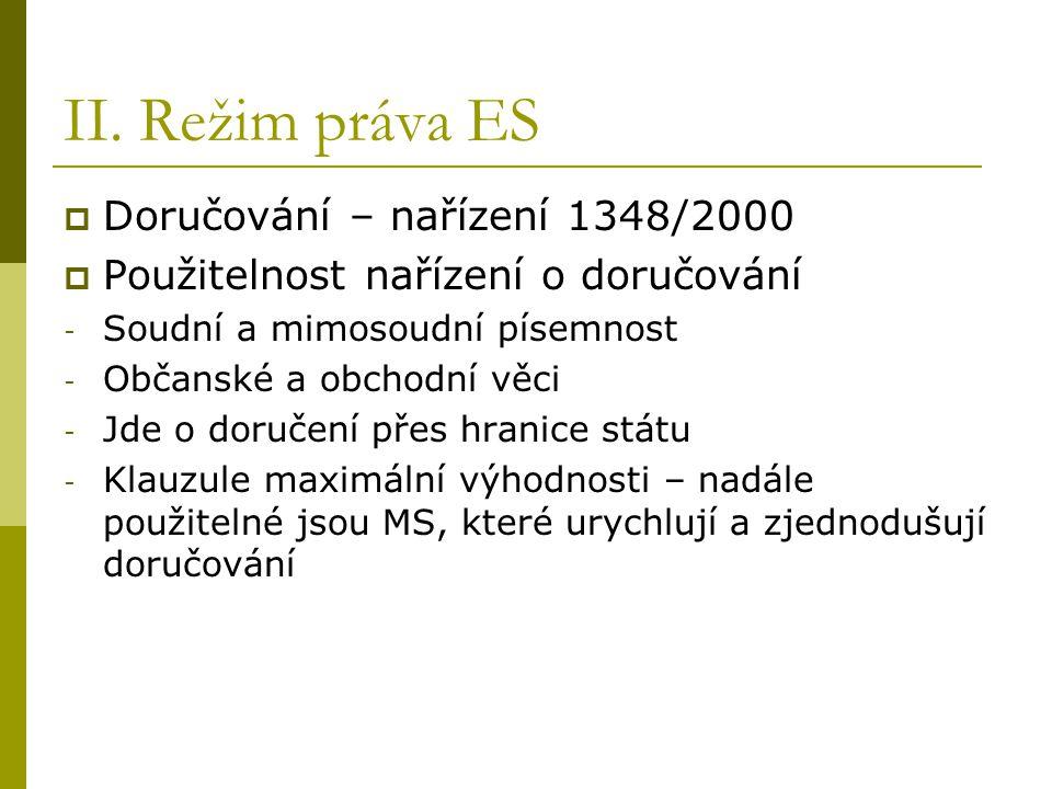II. Režim práva ES Doručování – nařízení 1348/2000
