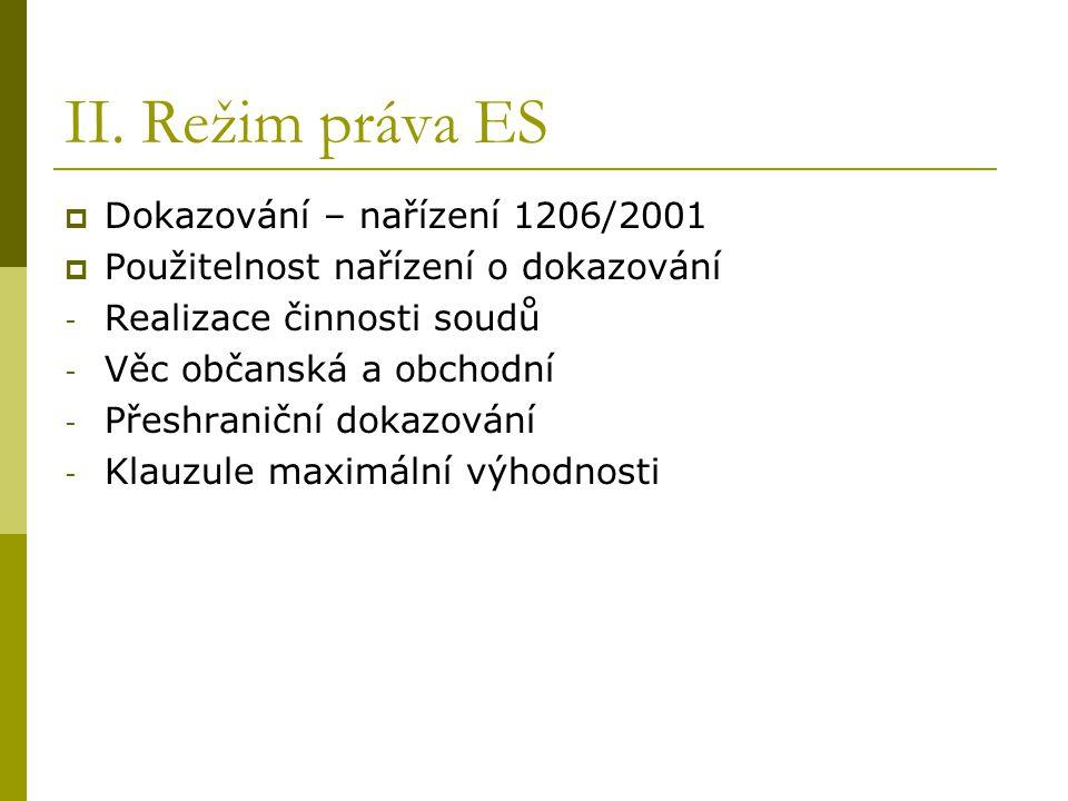 II. Režim práva ES Dokazování – nařízení 1206/2001