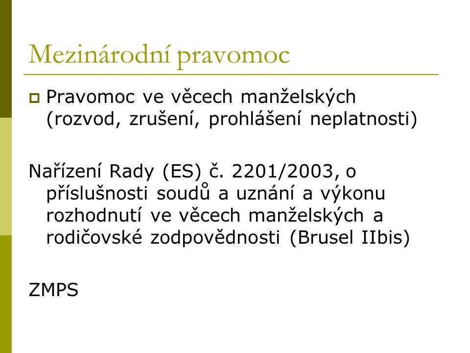 Mezinárodní pravomoc Pravomoc ve věcech manželských (rozvod, zrušení, prohlášení neplatnosti)
