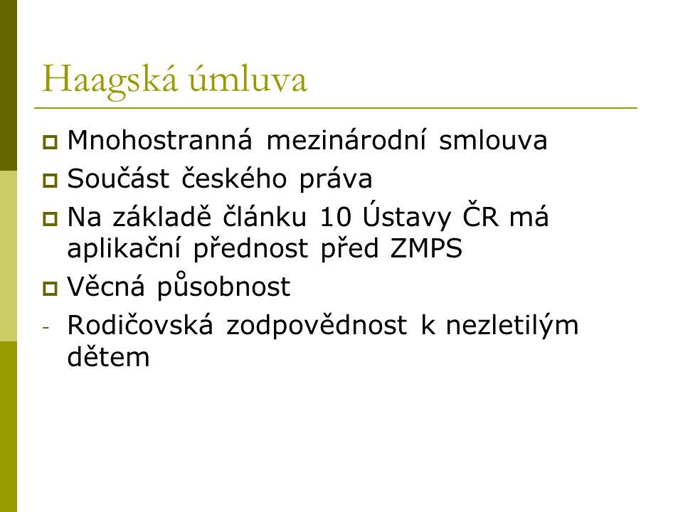Haagská úmluva Mnohostranná mezinárodní smlouva Součást českého práva