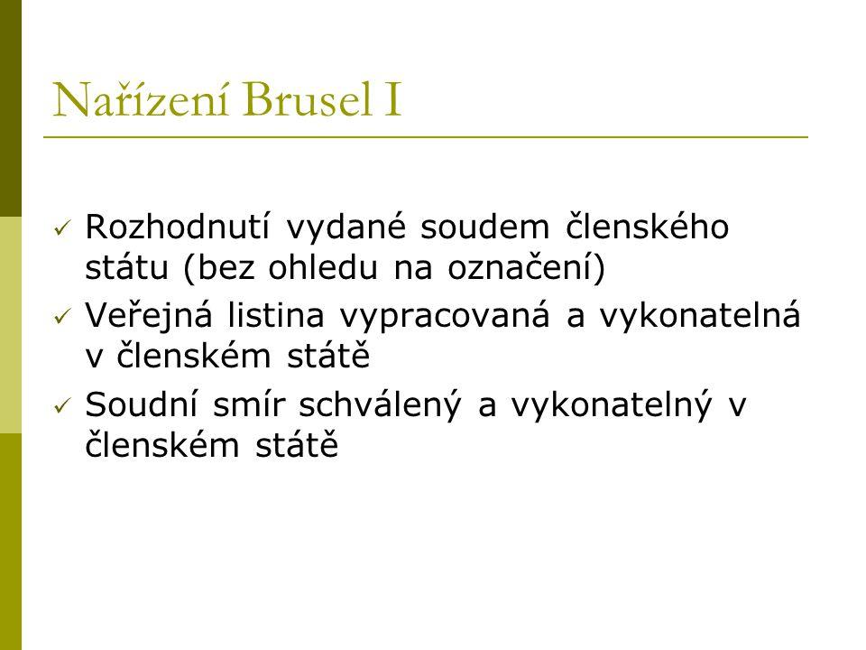 Nařízení Brusel I Rozhodnutí vydané soudem členského státu (bez ohledu na označení) Veřejná listina vypracovaná a vykonatelná v členském státě.