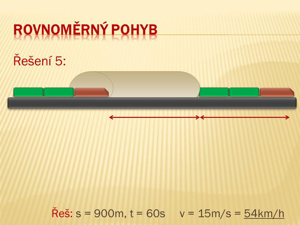 Rovnoměrný pohyb Řešení 5: Řeš: s = 900m, t = 60s v = 15m/s = 54km/h