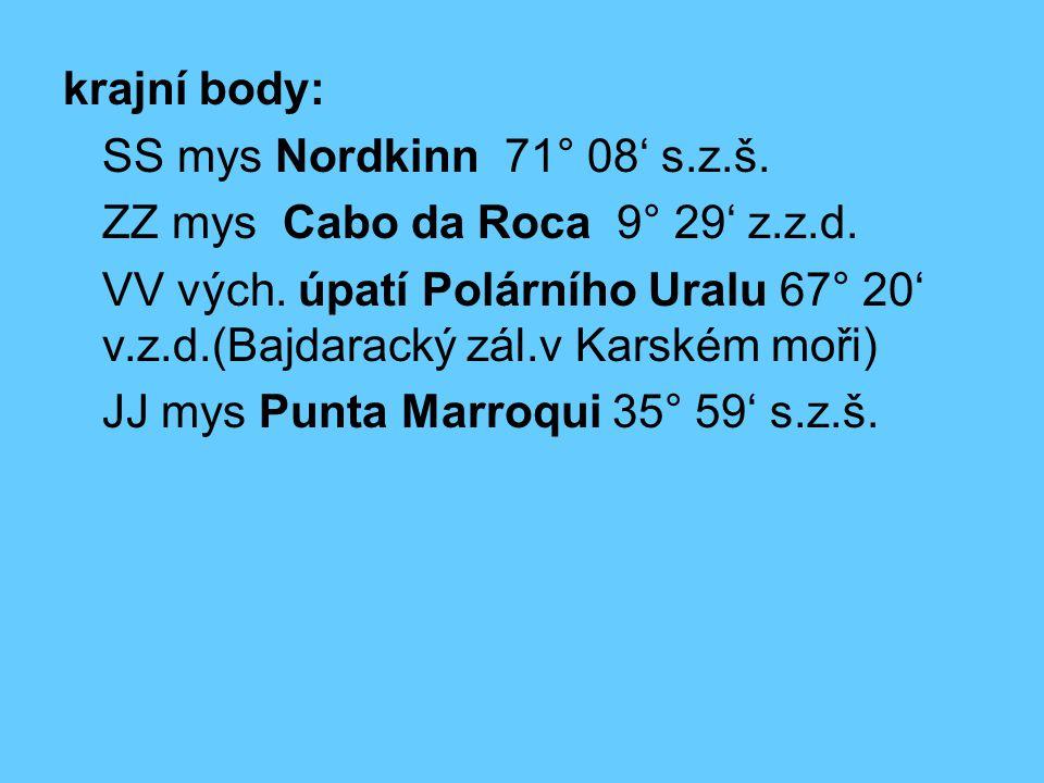 krajní body: SS mys Nordkinn 71° 08' s.z.š. ZZ mys Cabo da Roca 9° 29' z.z.d.