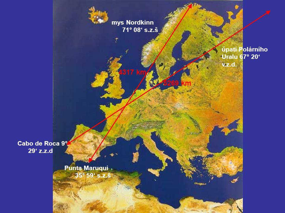 4317 km 5269 km mys Nordkinn 71° 08' s.z.š