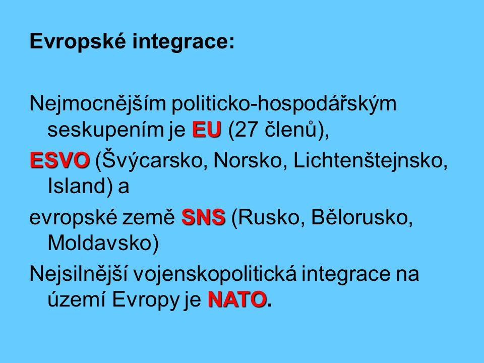Evropské integrace: Nejmocnějším politicko-hospodářským seskupením je EU (27 členů), ESVO (Švýcarsko, Norsko, Lichtenštejnsko, Island) a.