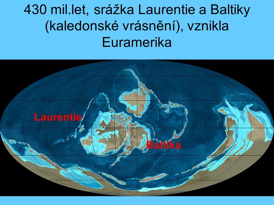 430 mil.let, srážka Laurentie a Baltiky (kaledonské vrásnění), vznikla Euramerika