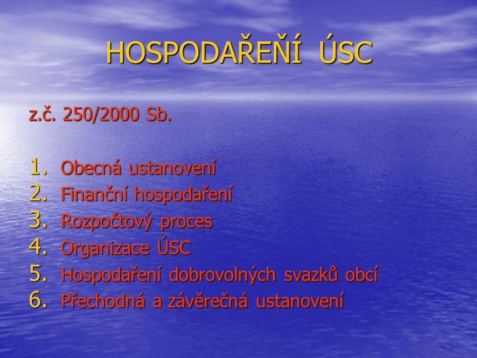 HOSPODAŘEŇÍ ÚSC z.č. 250/2000 Sb. Obecná ustanovení