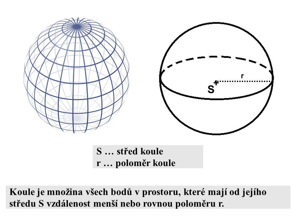 S + S … střed koule r … poloměr koule