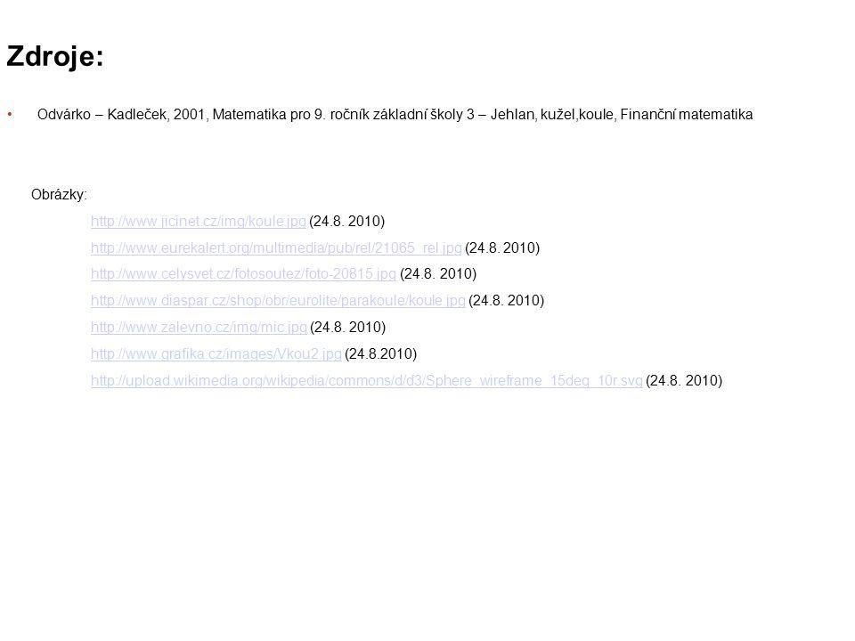 Zdroje: Odvárko – Kadleček, 2001, Matematika pro 9. ročník základní školy 3 – Jehlan, kužel,koule, Finanční matematika.