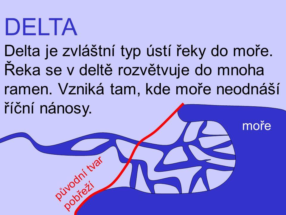 DELTA Delta je zvláštní typ ústí řeky do moře.