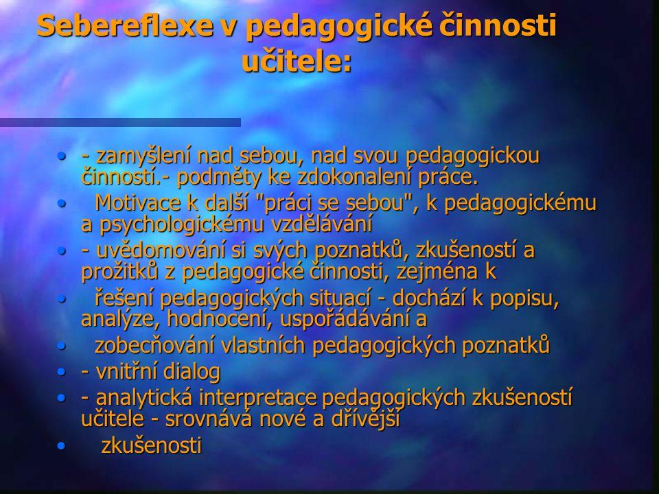 Sebereflexe v pedagogické činnosti učitele: