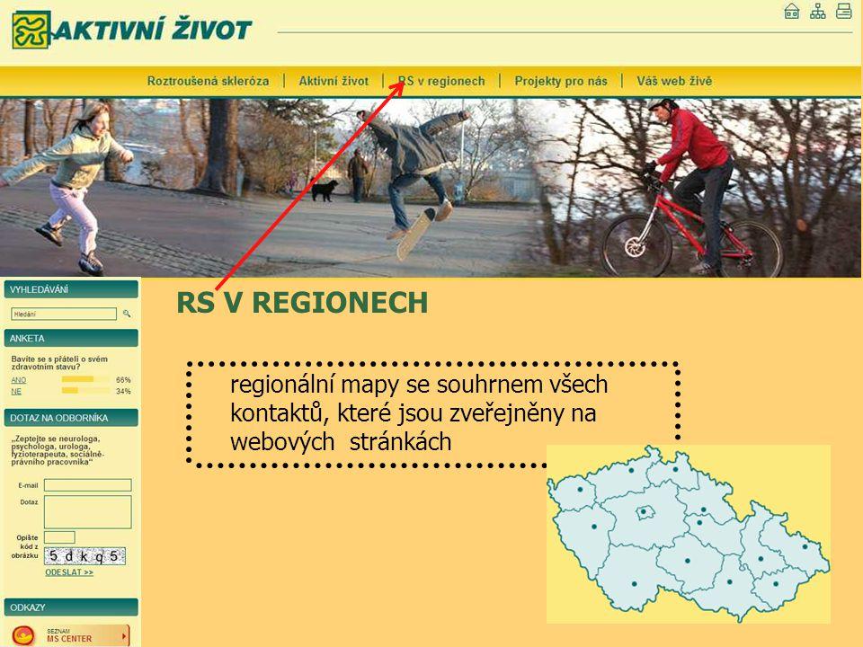 RS V REGIONECH regionální mapy se souhrnem všech kontaktů, které jsou zveřejněny na webových stránkách.