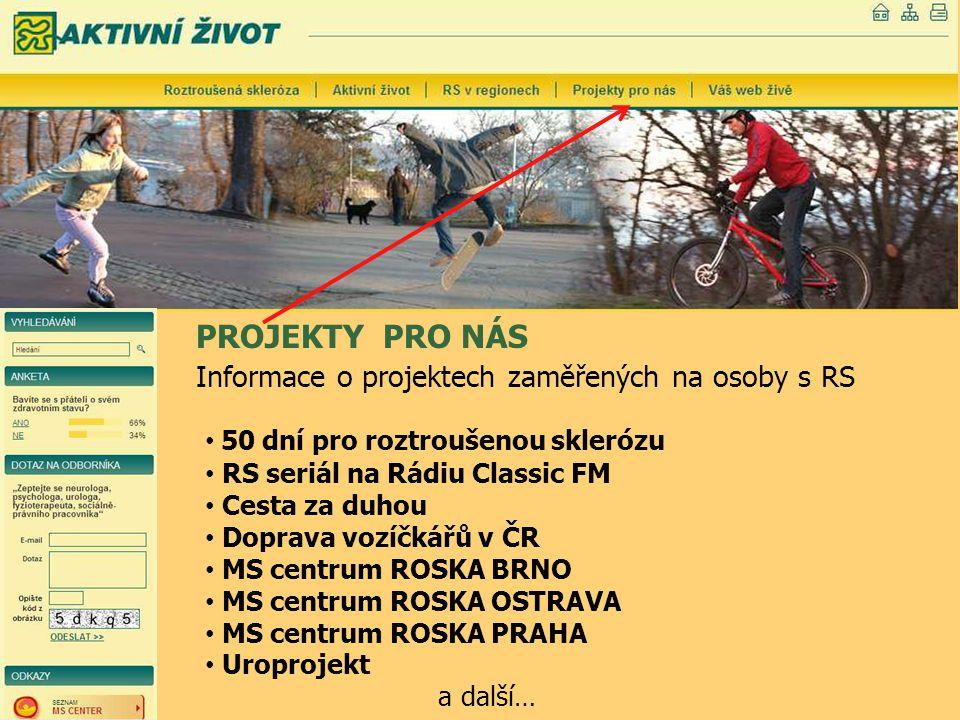 PROJEKTY PRO NÁS Informace o projektech zaměřených na osoby s RS