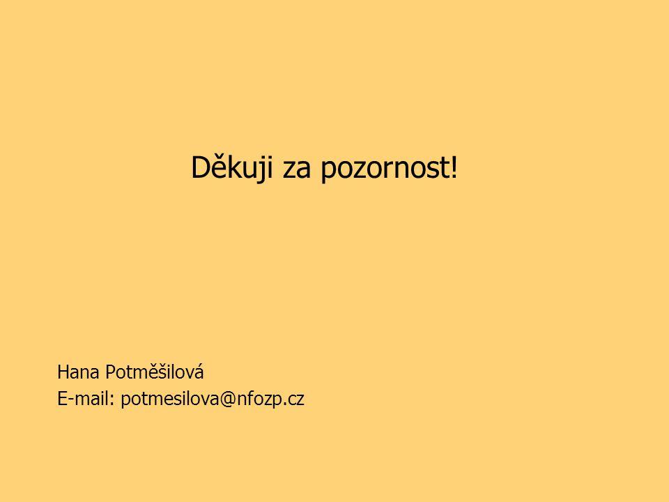 Děkuji za pozornost! Hana Potměšilová E-mail: potmesilova@nfozp.cz
