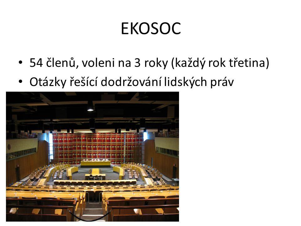 EKOSOC 54 členů, voleni na 3 roky (každý rok třetina)