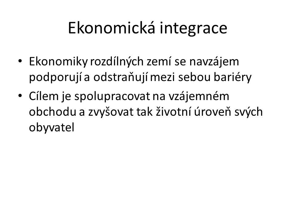 Ekonomická integrace Ekonomiky rozdílných zemí se navzájem podporují a odstraňují mezi sebou bariéry.