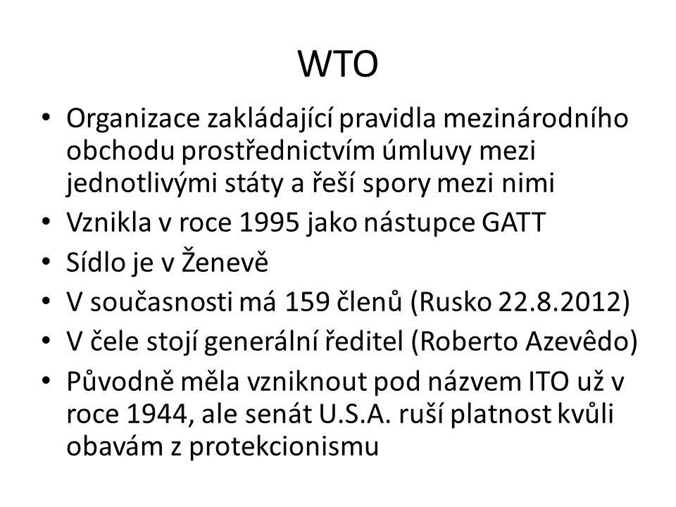 WTO Organizace zakládající pravidla mezinárodního obchodu prostřednictvím úmluvy mezi jednotlivými státy a řeší spory mezi nimi.