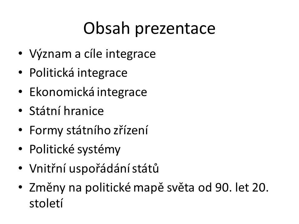 Obsah prezentace Význam a cíle integrace Politická integrace