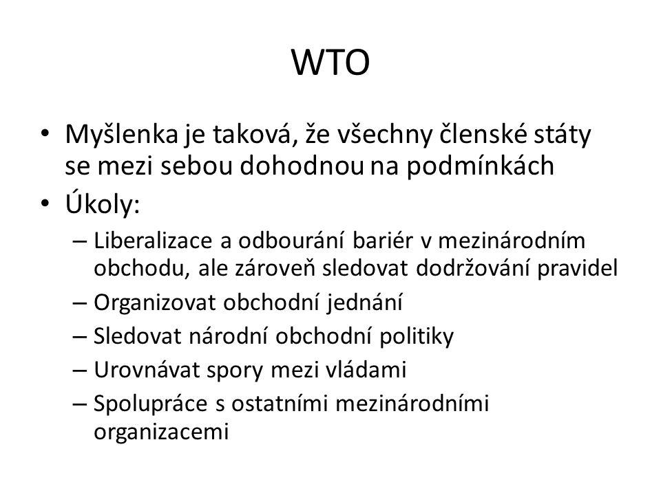 WTO Myšlenka je taková, že všechny členské státy se mezi sebou dohodnou na podmínkách. Úkoly: