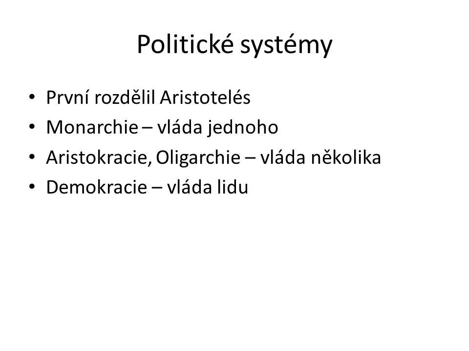 Politické systémy První rozdělil Aristotelés Monarchie – vláda jednoho