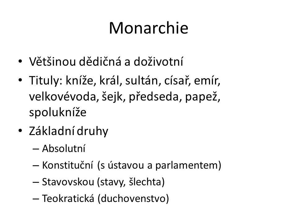 Monarchie Většinou dědičná a doživotní