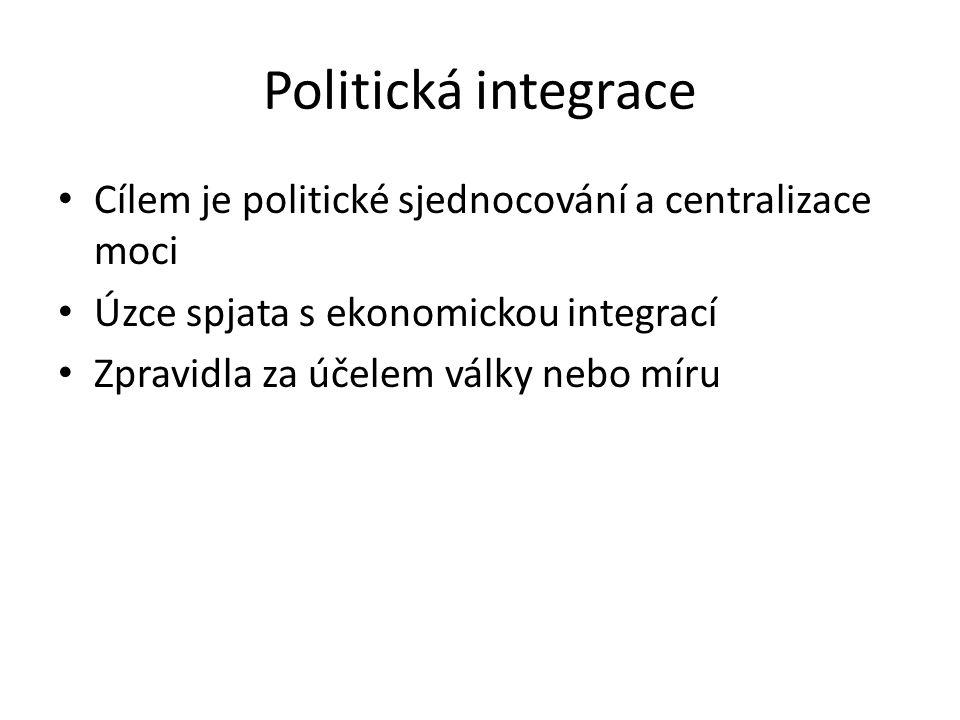 Politická integrace Cílem je politické sjednocování a centralizace moci. Úzce spjata s ekonomickou integrací.