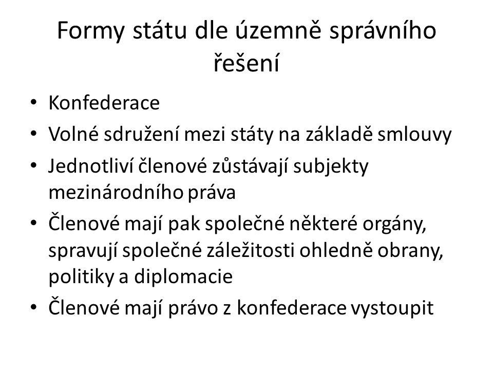 Formy státu dle územně správního řešení