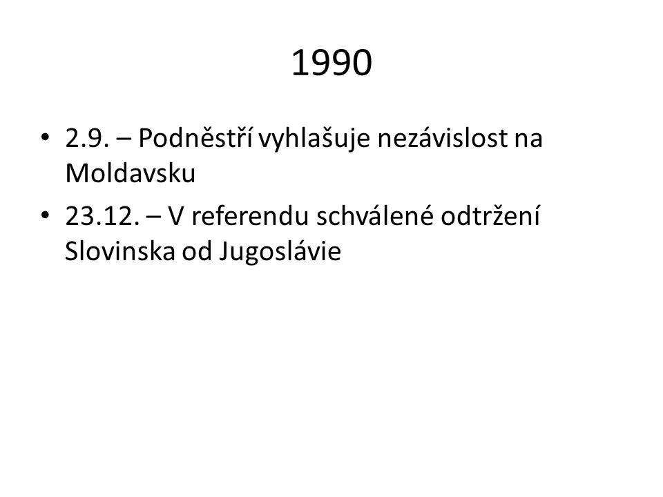 1990 2.9. – Podněstří vyhlašuje nezávislost na Moldavsku