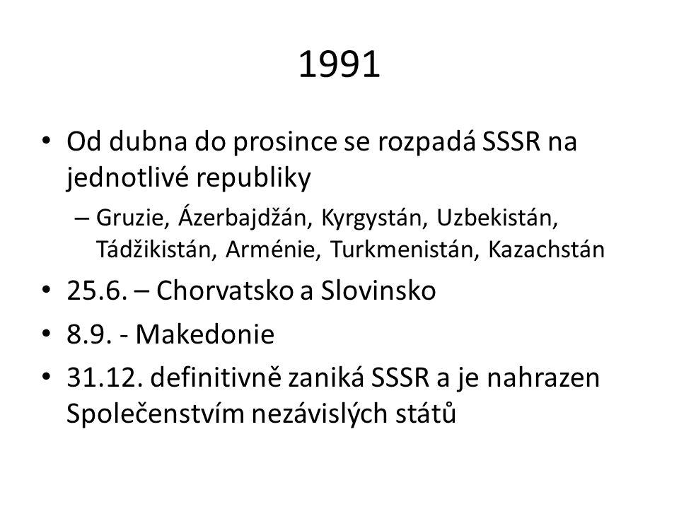 1991 Od dubna do prosince se rozpadá SSSR na jednotlivé republiky