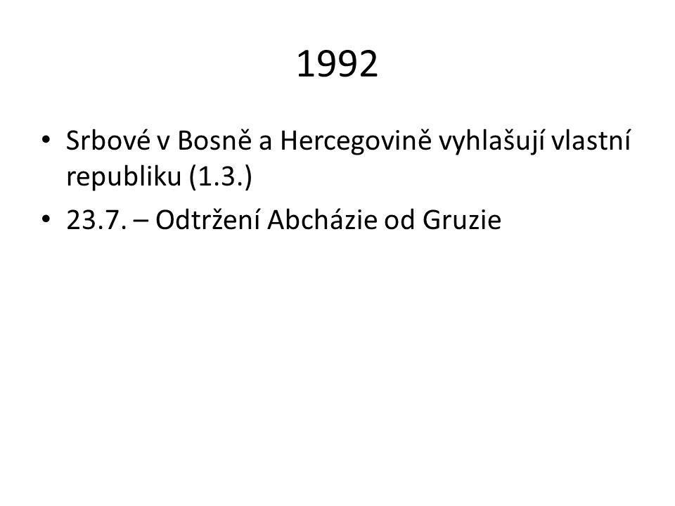 1992 Srbové v Bosně a Hercegovině vyhlašují vlastní republiku (1.3.)