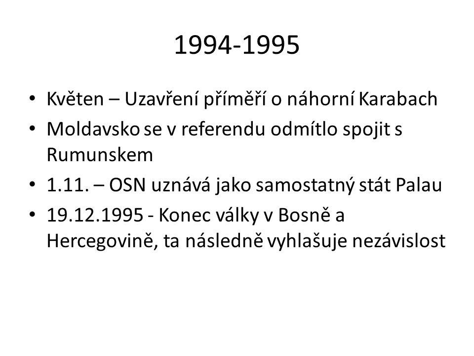 1994-1995 Květen – Uzavření příměří o náhorní Karabach