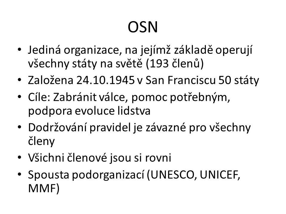 OSN Jediná organizace, na jejímž základě operují všechny státy na světě (193 členů) Založena 24.10.1945 v San Franciscu 50 státy.