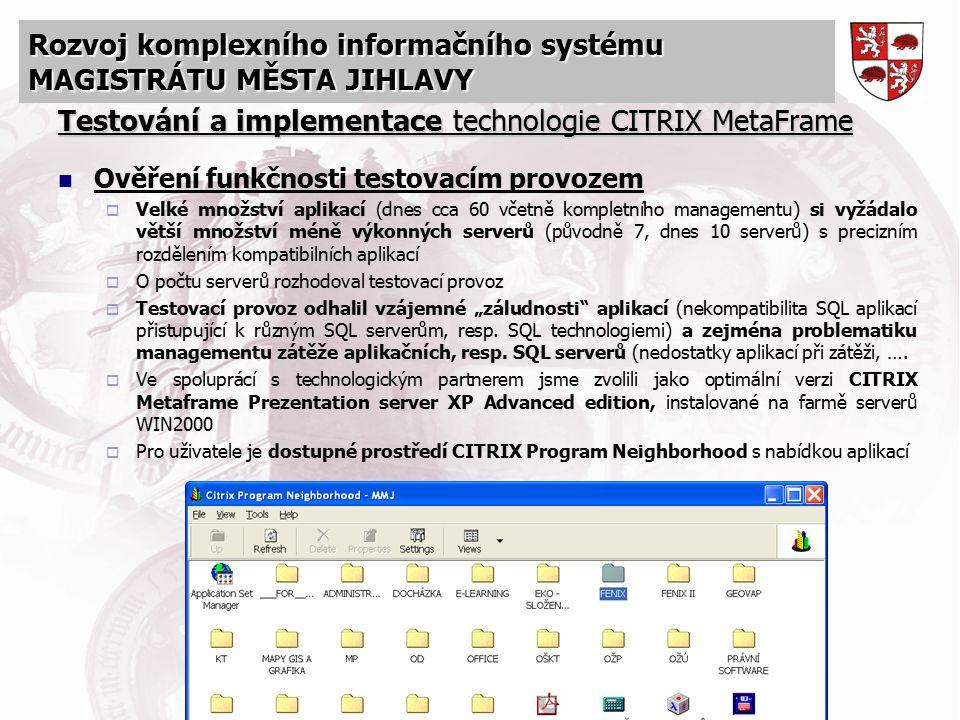 Testování a implementace technologie CITRIX MetaFrame