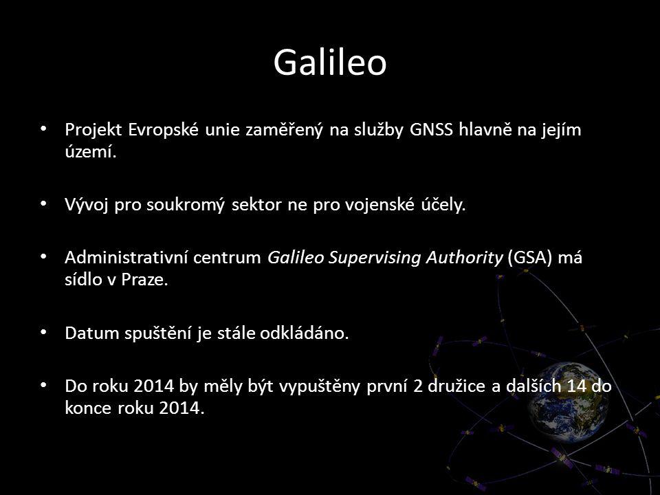 Galileo Projekt Evropské unie zaměřený na služby GNSS hlavně na jejím území. Vývoj pro soukromý sektor ne pro vojenské účely.
