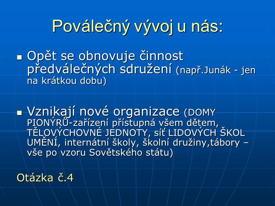 Poválečný vývoj u nás: Opět se obnovuje činnost předválečných sdružení (např.Junák - jen na krátkou dobu)