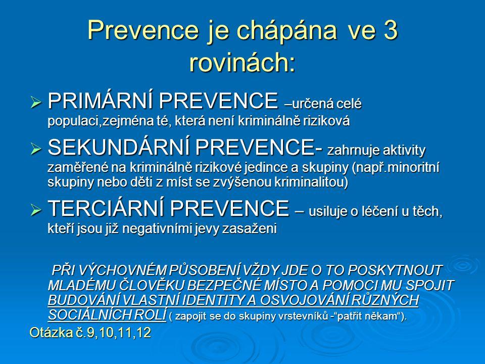 Prevence je chápána ve 3 rovinách: