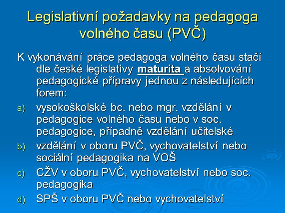 Legislativní požadavky na pedagoga volného času (PVČ)