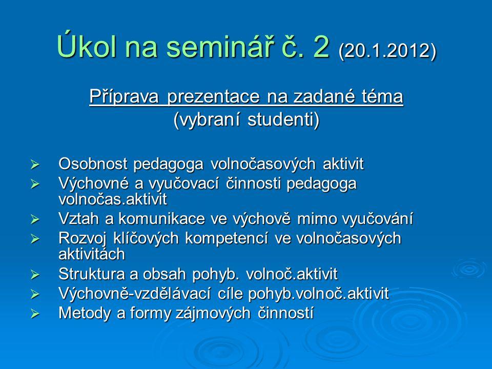 Příprava prezentace na zadané téma