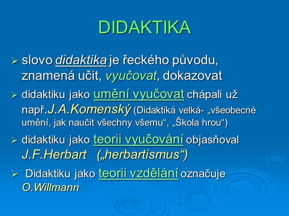 DIDAKTIKA slovo didaktika je řeckého původu, znamená učit, vyučovat, dokazovat.