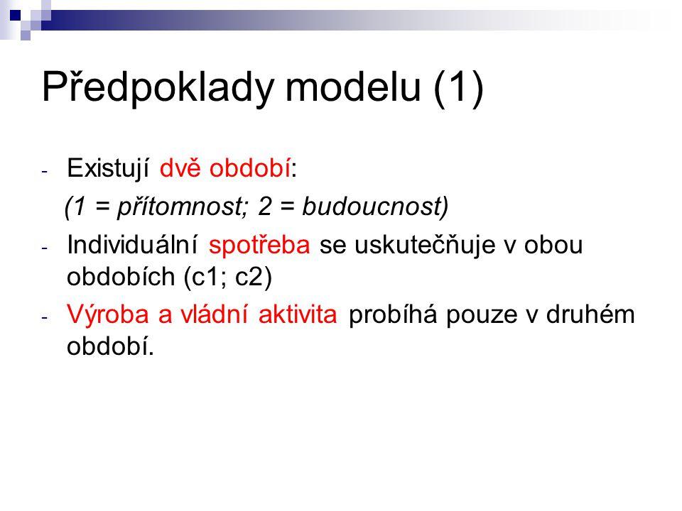 Předpoklady modelu (1) Existují dvě období: