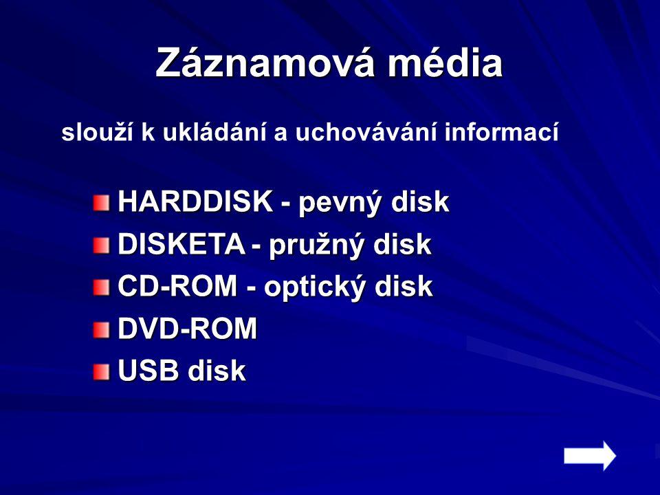 Záznamová média HARDDISK - pevný disk DISKETA - pružný disk